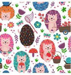 white seamless pattern with colorful hedgehogs vector image