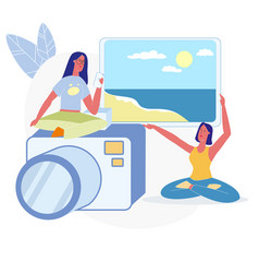 Women choosing vacation photos flat vector