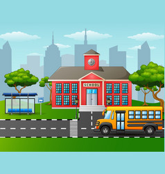 Yellow school bus in front of school building with vector