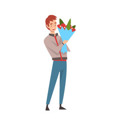 young man holding bouquet flowers vector image