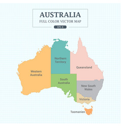 australia map full color high detail separated all vector image vector image