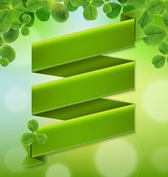 Green Ribbon Poster With Leaves vector image vector image