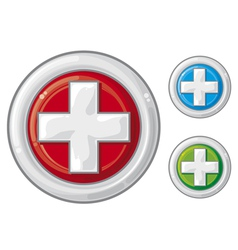 medical sign button first aid vector image vector image