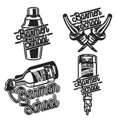 color vintage barmen school emblems vector image