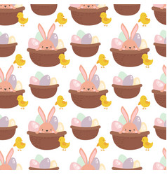 easter rabbit character bunny seamless pattern vector image