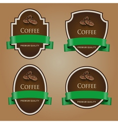 Set of dark labels with green tape coffee theme vector