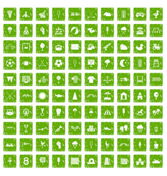 100 childrens playground icons set grunge green vector image vector image