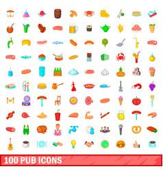 100 pub icons set cartoon style vector image vector image