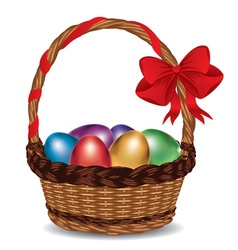 Basket with Colorful Eggs2 vector image vector image