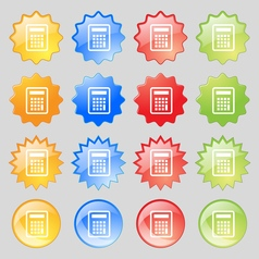 Calculator icon sign Big set of 16 colorful modern vector image