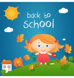 Cartoon of happy little girl in autumn landscape vector image vector image