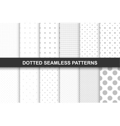 Collection of simple seamless dotted patterns vector image