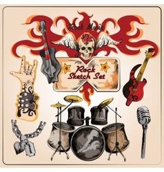 Rock music colored sketch set vector image