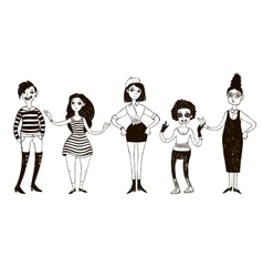 Set of doodle women in retro style vector image vector image