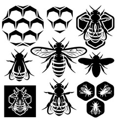 set of monochrome honey emblems and design vector image
