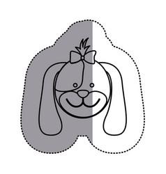 Silhouette face dog ribbon bow head icon vector