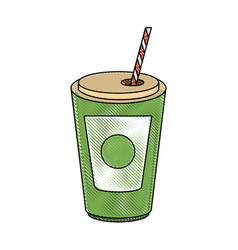 soda cup with straw vector image vector image