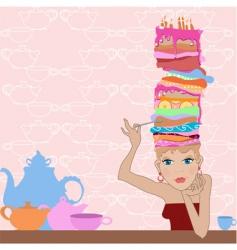 girl cake vector image vector image