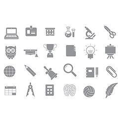 School elements gray icons set vector image vector image