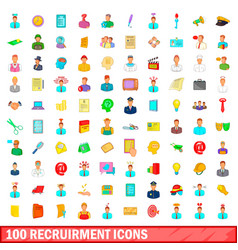 100 recruitment icons set cartoon style vector
