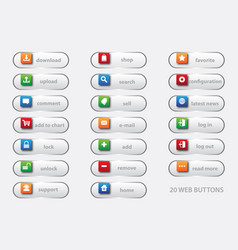 20 web buttons 3d vector