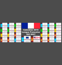 2019 french wall calendar two iso 8601 templates vector image