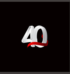 40 years anniversary celebration number black vector