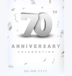 70 years silver number anniversary celebration vector image