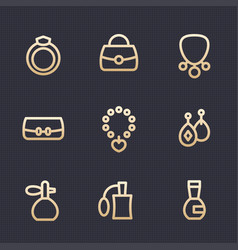Accessories jewelry perfume icons set vector