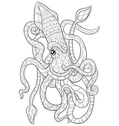 Adult coloring bookpage a cute octopus image for vector