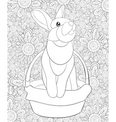 Adult coloring bookpage a cute rabbit in a basket vector