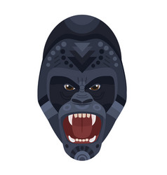 angry wild ferocious gorilla screaming head logo vector image