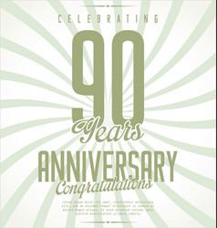 Anniversary retro background 90 years vector