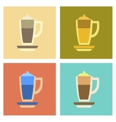 Assembly flat icons coffee cup of latte vector