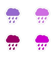 Assembly realistic sticker design on paper rain vector