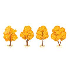 Autumn trees set vector