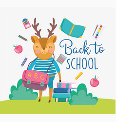 Back to school cute deer with bag books apple vector