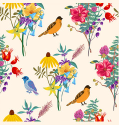 bird and flowers vintage summer seamless vector image