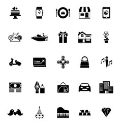 Birthday gift icons on white background vector image