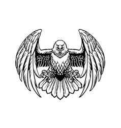 Black and white eagle in high retailed style vector