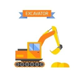 Building under construction excavator technics vector