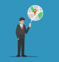 businessman find location in map application on vector image