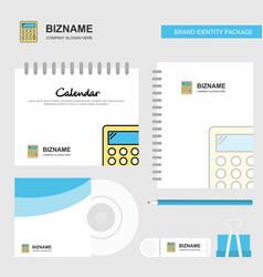 calculator logo calendar template cd cover diary vector image