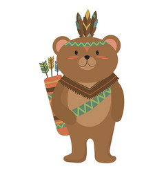 cartoon bear indian a cute vector image