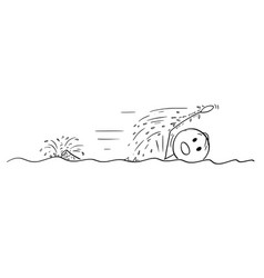 Cartoon man swimming crawl vector