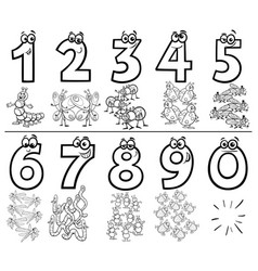 Cartoon numbers set coloring book with insects vector
