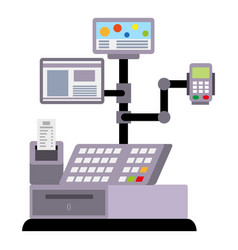 Cashier payment terminal icon flat style vector