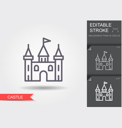 castle tower line icon with editable stroke vector image