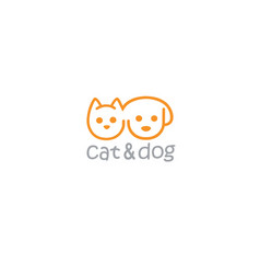 Cat and dog pet logo template vector