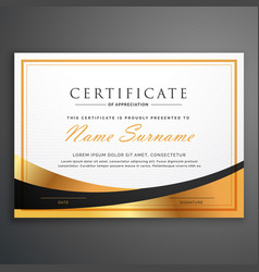 Certificate template deisgn with golden wave vector